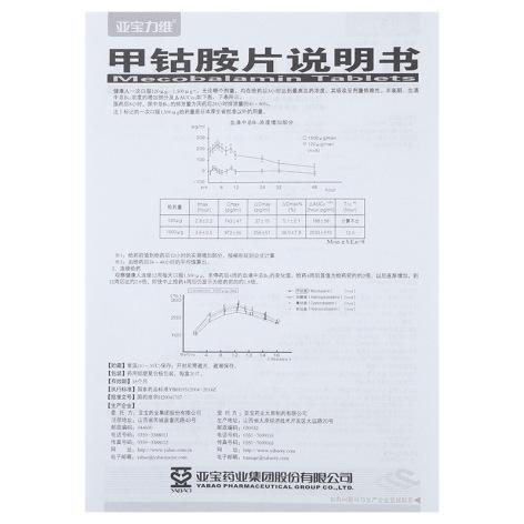 甲钴胺片(亚宝力维)包装侧面图5