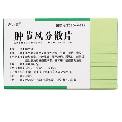 肿节风分散片(严力素)包装侧面图2